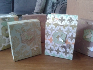 Co-ordinating gift boxes using the New Leaf paper stack by First Edition Paper.