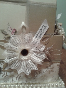 Handmade lace flower cluster.