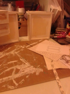 Base coat for the drawers - White Gesso.