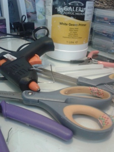 Selection of tools and adhesives.