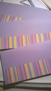 Colourful stripy paper to add interest to the slim-line, coloured card bases.