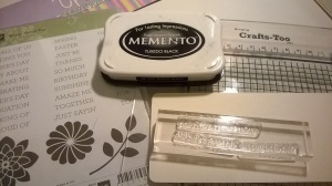 Black Staz on ink pad, acrylic blocks and the Stampin' up! stamp set that I used.