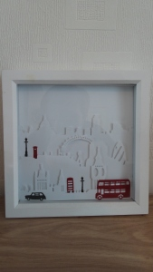 London Scene in a shodow box frame.