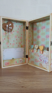 The interior of the recipe box:  I added some partition sections for recipe cards to be stored in.
