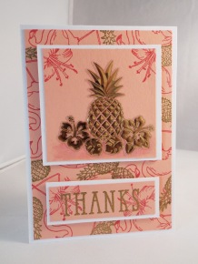 Pineapple Thanks - Gold heat embossed.