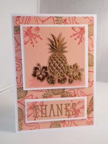 Pineapple Thanks - Gold heat embossed.