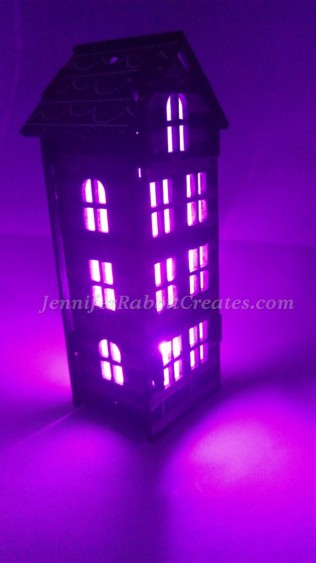 Lit with tiny purple, battery operated fairr lights.