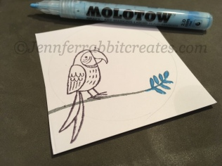 Step 3: I used Molotow Masking Fluid Pen over the leaves so it looks the right parrot is partially behind said leaves.