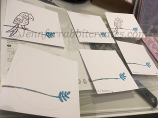 Step 4: After covering the leaves on all the panels, I proceeded to stamp the rest of the right hand side Parrots.